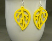 Wooden Leaf Cutout Earrings. Yellow.