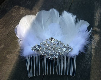 White Feather Bridal Comb