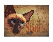 SIAMESE CAT PRINT - I am Siamese -  Asian Layered Funkiness - an Original Signed Art Print by Wendy Presseisen - Cats - Kitten - Oriental Cat Charm