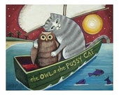 the OWL and the PUSSYCAT -  an Original Signed Folk Art Print by Wendy Presseisen - Cats - Kitten - Owl - Boat