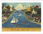 Folk Art Whale Watch Print -  Summer in Nantucket - an Original Signed Folk Art Print by Wendy Presseisen - Colorful Charm