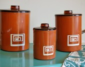 Vintage 1970s Set of 3 Mod and Graphic Kitchen Canisters: Flour, Sugar, & Coffee Coated Metal Container Set