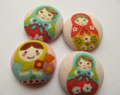 4 Russian Doll Matryoshka Flat back Buttons 22mm Size 36