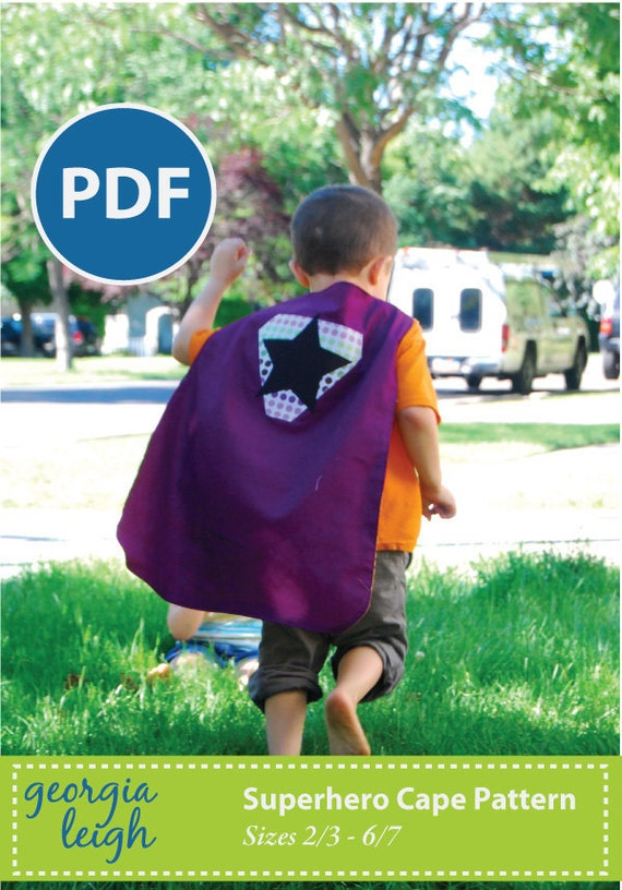Sale - NEW and IMPROVED Superhero Cape PDF Sewing Pattern sz 2/3-6/7
