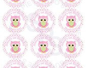 Owl WHOOOs Birthday Mix and Match 2.5 inch circle Cupcake toppers or tags Printable Personalized Digital File DIY
