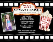 Movie Night Cinema Film your photo girl boy Birthday party, Invitation or thank you Custom Personalized Digital File, DIY Printable