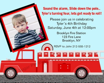 Fire Engine truck Fireman your photo boys Birthday party, Custom Personalized Invitation -Digital File, DIY Printable File