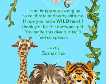 Jungle Safari Zoo Animals  or ANY THEME Birthday thank you Custom Personalized card  Digital File, diy Printable File