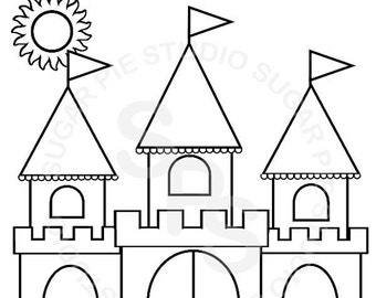 Castle coloring page | Etsy