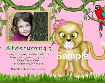 Jungle Safari Zoo animals your photo girl boy Birthday party, Invitation or thank you Custom Personalized Digital File, DIY Printable