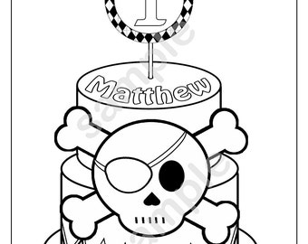 Personalized Printable Pirate Skull Crossbones Cake Birthday Party Favor childrens kids coloring page book activity PDF or JPEG file