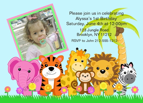 Jungle Safari Zoo animals your photo girl boy Birthday party, Custom Personalized Invitation -Digital File, DIY Printable File