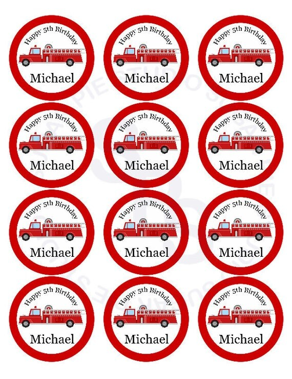 Fire engine truck Mix and Match 2.5 inch circle Cupcake toppers or tags Printable Personalized Digital File DIY