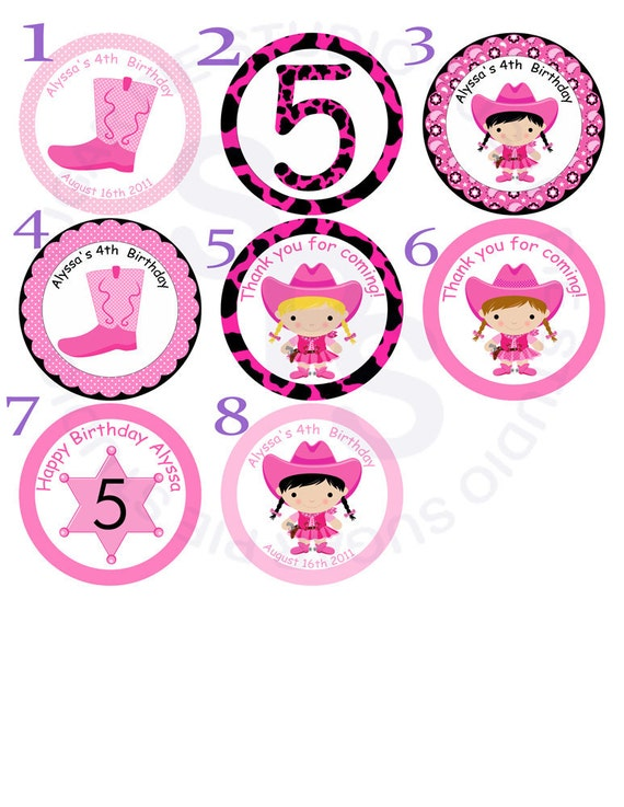 Cowgirl Mix and Match 2 inch circle Cupcake toppers or tags Printable Personalized Digital File DIY