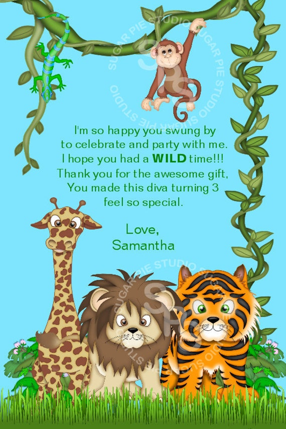... Birthday thank you Custom Personalized card Digital File, diy: https://www.etsy.com/listing/78389556/jungle-safari-zoo-animals-or...