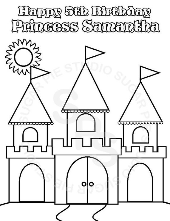 Personalized Printable Princess Castle Birthday Party Favor childrens kids coloring page book activity PDF or JPEG file