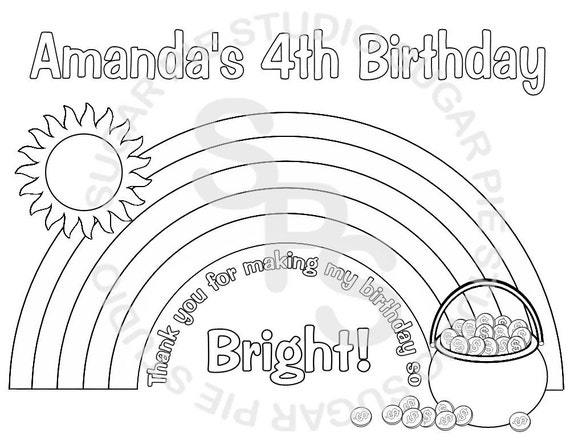 Personalized Printable Rainbow Birthday Party Favor childrens kids coloring page book activity PDF or JPEG file