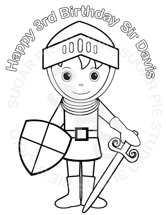 Personalized Printable Prince Sir Knight Birthday Party Favor childrens kids coloring page activity PDF or JPEG file