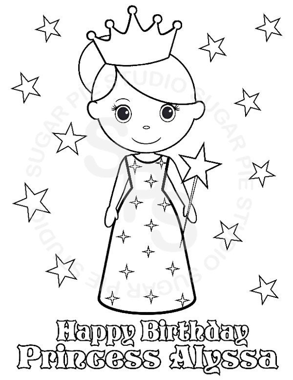 personalized birthday coloring pages | Personalized Printable Princess Birthday Party Favor childrens