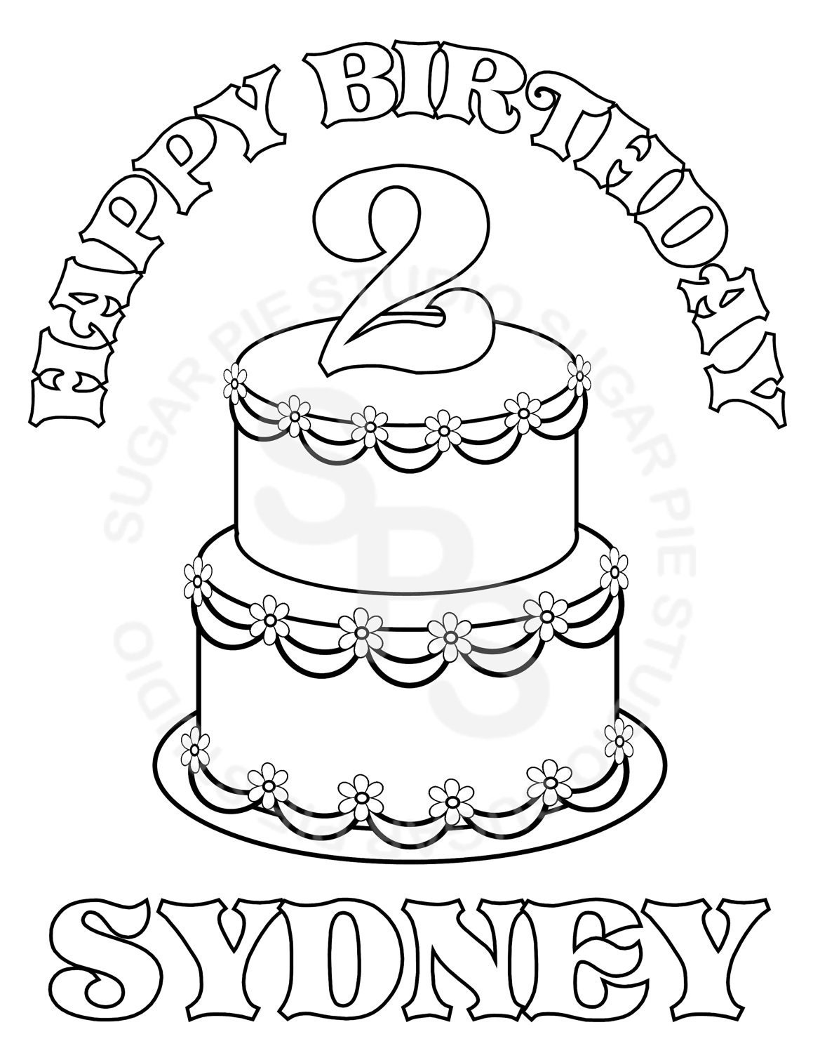personalized birthday coloring pages | Personalized Printable Birthday Cake Party Favor childrens