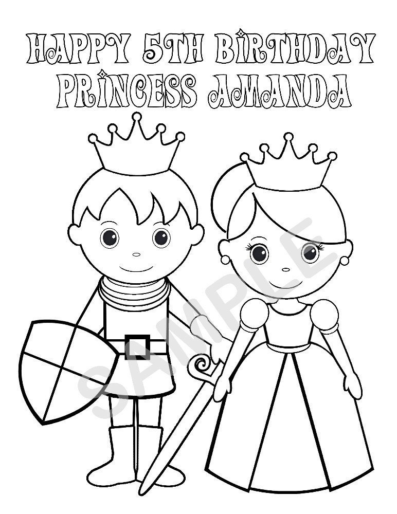 personalized birthday coloring pages | Personalized Printable Princess Prince Knight Birthday Party