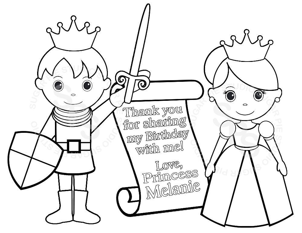 personalized printable princess prince knight by sugarpiestudio