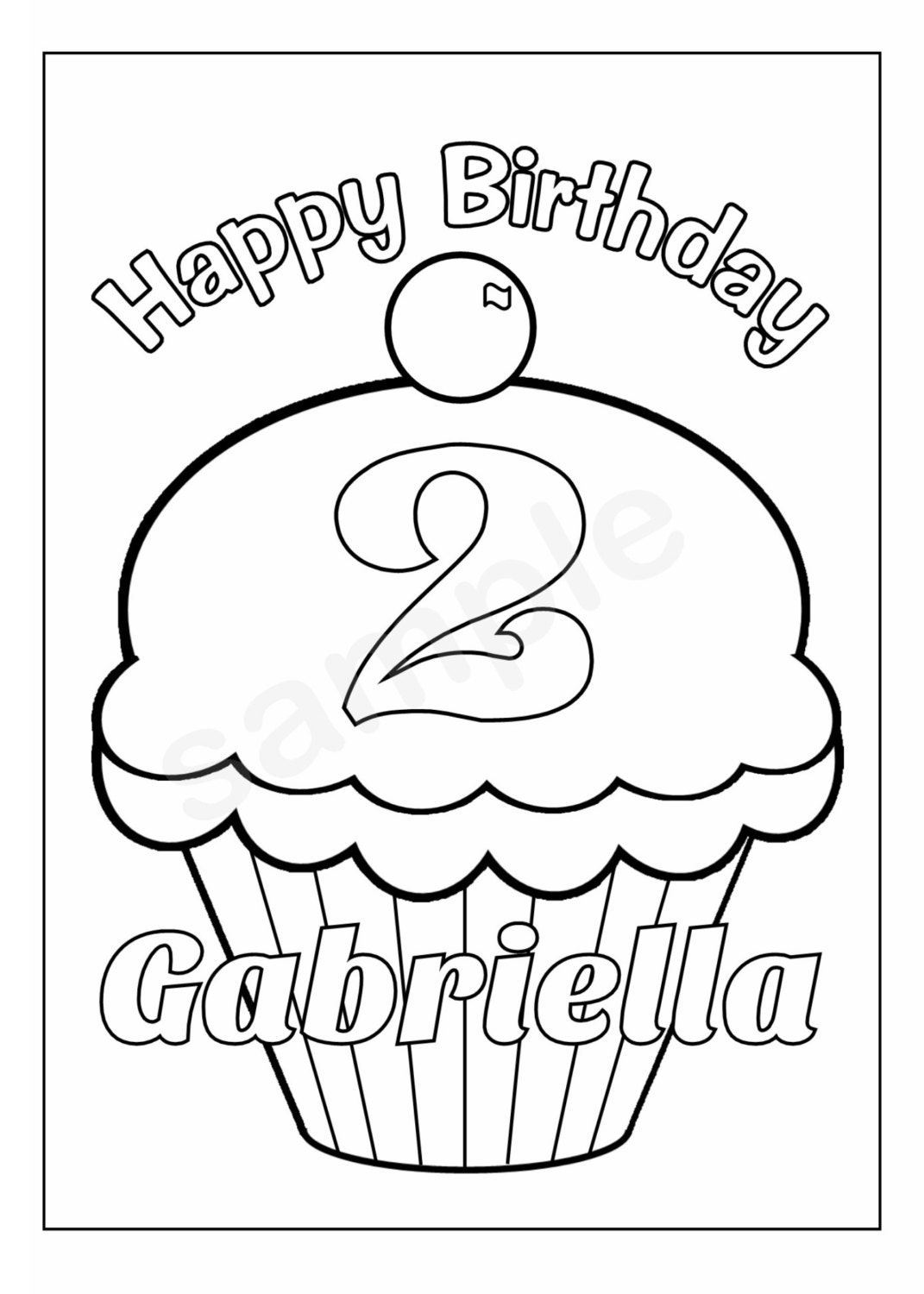Personalized printable birthday cupcake cup cake by for Birthday cupcake coloring page