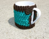 Mint Chocolate Coloured Mug Cozy with Button Closure