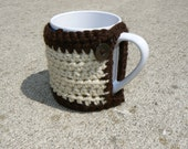 Cream and Brown Mug Cozy with Button Closure