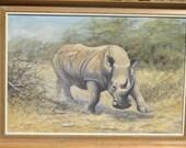 Painting by British Artist Kim Brooks - Charging White Rhino