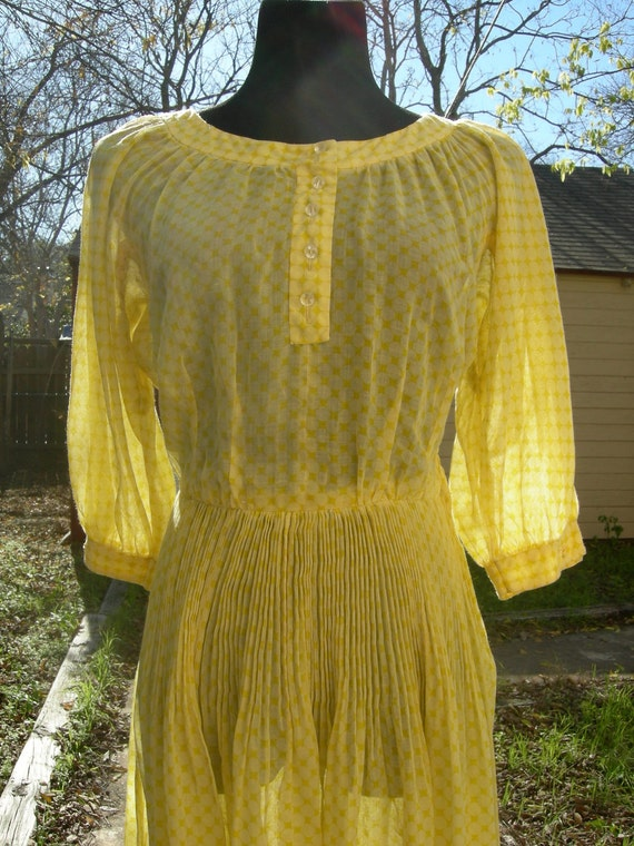 Vintage 1950s Yellow Dress free shipping RESERVED for Katherine