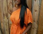 Hemp & Silk Orange Kimono-M
