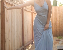 Organic Clothing- Organic Cotton & Soy Misty Blue Maxi-  Large