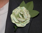 Map Boutonniere with Cherry Laurel leaves