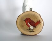 red bird valentines day necklace hand painted pendant- hangs on long silver chain
