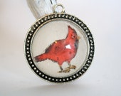 Red Cardinal christmas Hand Painted Necklace