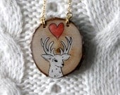 white red love deer - valentines day inspired hand painted wooden deer necklace