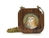 Wood Owl Necklace, Wood Jewelry, Eco-Friendly Jewelry, Gift for Her, Wooden necklace, Wood jewelry, under 50 for women