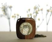 owl necklace- hand painted necklace - spring fashion spring jewelry