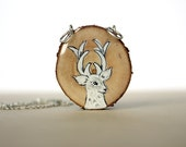 white deer necklace spring fashion recycled wood hand painted necklace wooden necklace