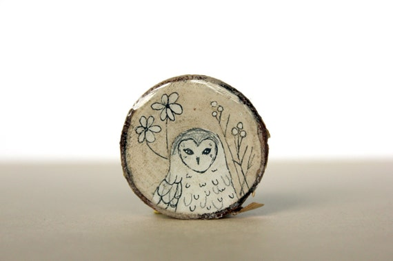 spring fashion owl brooch- floral painted brooch - hand painted birch tree wood slice