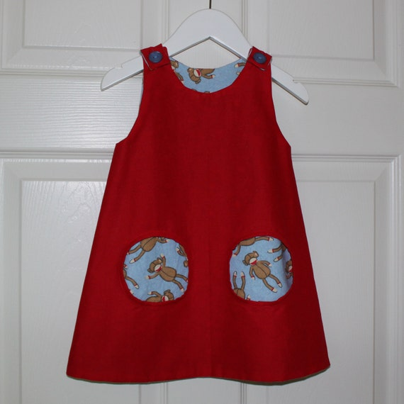 Super cute monkey pocket girl's dress UPPSALA in Swedish/Scandinavian design by Lingonberry Latitude, Size 18mo - Ready to Ship