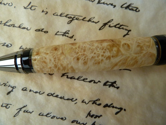 Father's Day Gift Pen - Natural Box Elder Wood Pen with Black Titanium Hardware for Grads or  Dads