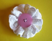 Lace Flower Clip with Pink Button Center