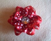 Red and White Polk-a-dot Flower Barrette