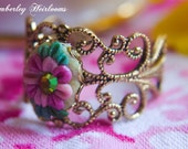 Emma Woodhouse Pink, Rose, Yellow Vintage Style Floral Ring