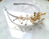 Bridal Hair Band Tiara, Satin with Sprays of Pearls and Crystals
