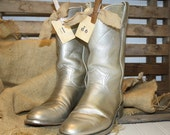 Wedding Cowboy Boots - Table Decorations - Silver Glitter
