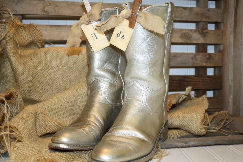 Wedding Cowboy Boots Table Decorations Silver by CrownWillow