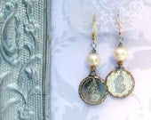 Once Upon a Franc coin earrings with Pearl 1/2 Fr. Earrings Vintage coin Vintage Inspired